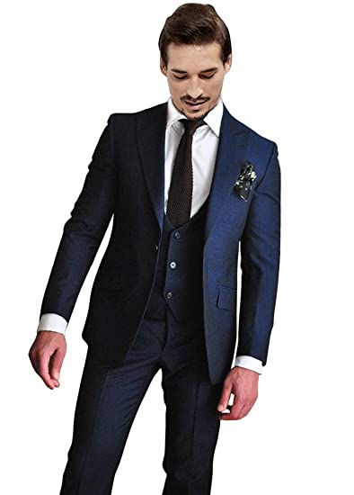 Newdeve 1 Button Navy Blue 3 Pieces Men Suits Wedding Party Tuxedo ...