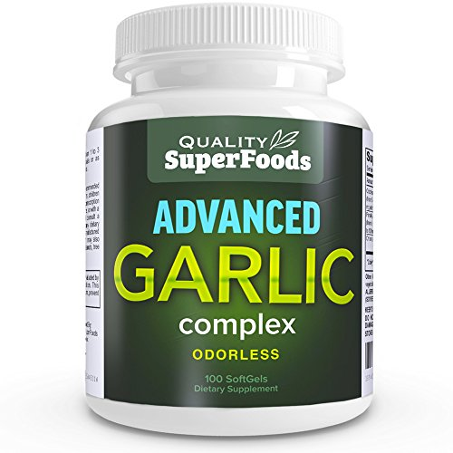 Advanced Garlic Complex - Quality SuperFoods (100ct) Maximum strength Complex contains a blend of Odorless Garlic (allium sativum), Parsley (petroselinum crispum), and Chlorophyll.