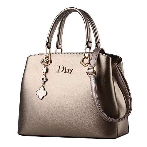 Borsa Da Donna, Donna In Pelle PU Moda Grande Capacità Borsa Messenger Bag Tracolla Borsa Da Viaggio Cosmetici Lavoro Shopping Bag Sacchetto Di Immagazzinaggio Secchio Gold