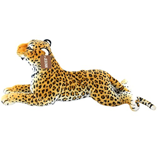 JESONN Realistic Soft Stuffed Animals Grovel Spotted Leopard Toys Plush for Baby Pillow and Kids' Gifts,23.6