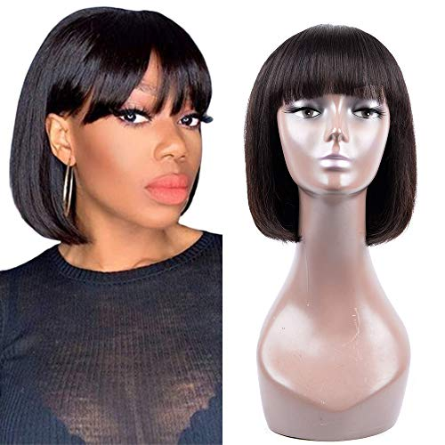 Human Hair Wigs with Bangs Brazilian Short BoB Wigs For Woman BOB Straight Hair Wigs Glueless MachineMadeWigs Natural Colo (6 Inch, natural color)