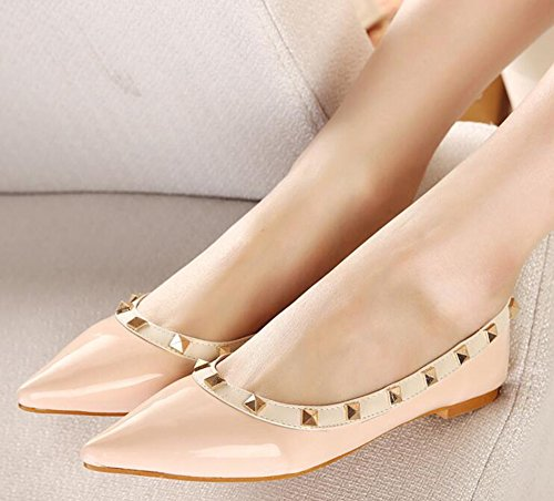 IDIFU Womens Unique Studded Pointed Toe Slip On Flats Shoes Pink 6LOecyw9t