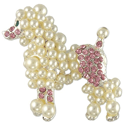 CRYSTAL PEARL POODLE DOG BROOCH PIN MADE WITH SWAROVSKI ELEMENTS (Pink) - Pearl Poodle