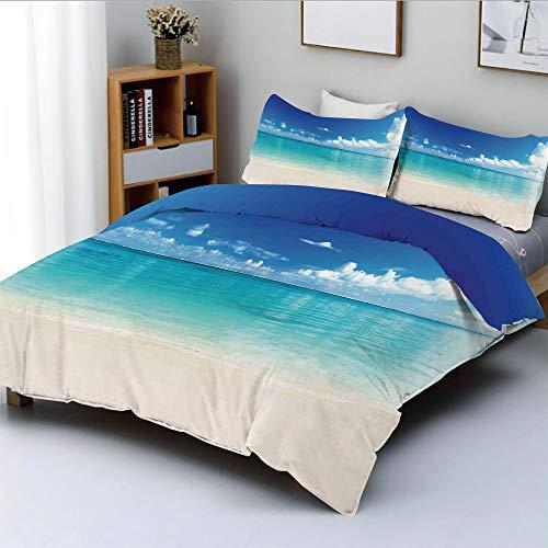 Duplex Print Duvet Cover Set Full Size,Natural Coastal View Sand Sea Beach Carribean SeaDecorative 3 Piece Bedding Set with 2 Pillow Sham,Best Gift for Kids & Adult