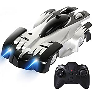 Toch Remote Control Car Boy Toy Gift, Rechargeable RC Wall Climber Car for Kids Boy Girl Birthday Gift Present with Mini Control Dual Mode 360° Rotating Stunt Car LED Head Gravity-Defying,Black