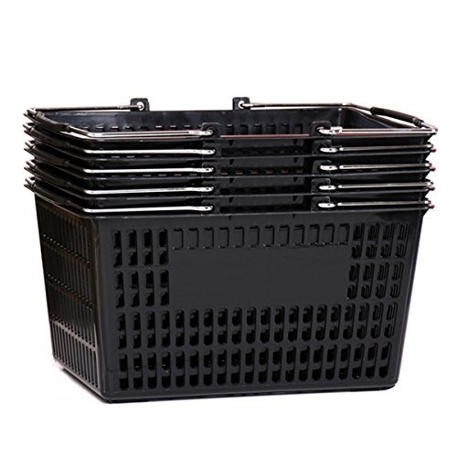 Plastic Baskets With Handles (Shopping Basket (Set of 5) Durable Black Plastic with Metal)