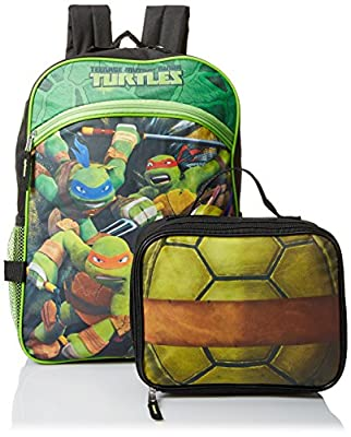 Teenage Mutant Ninja Turtles Boys' 16 Inch Backpack with Lunch Tote