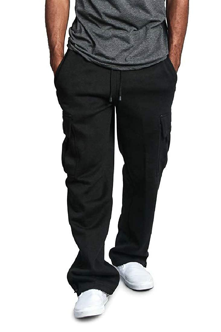 Wilngo Men Casual Cargo Loose Straight Fit Multi-Pocket Pants Trousers