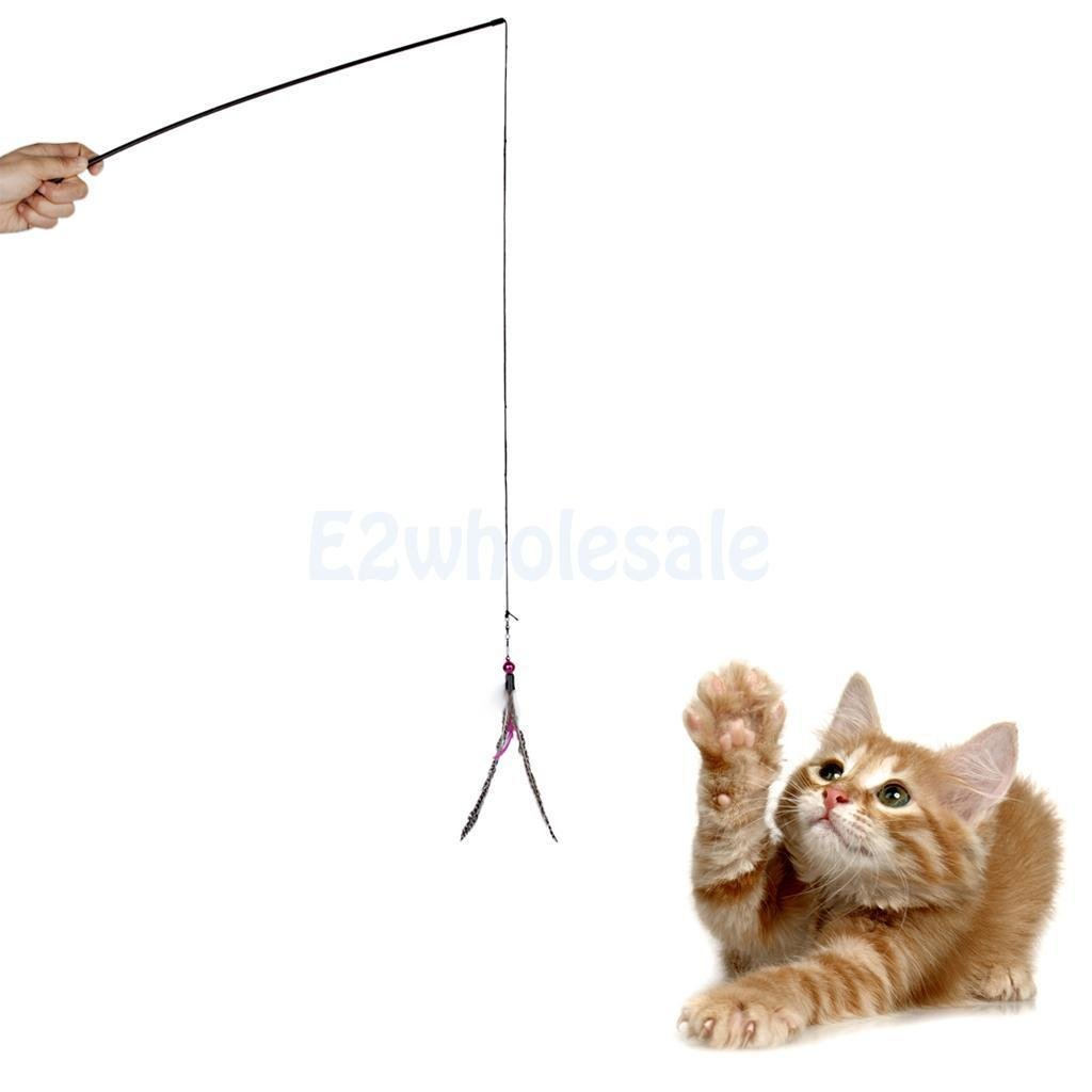 delicate Pet Kitten Cat Toy Dangler Rod Roped Teaser Toy w/ Bell & Natural Feather