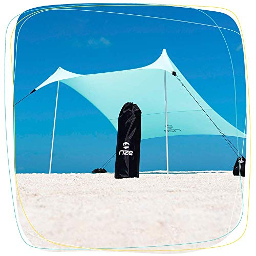 Rize Stakeless Sun Shade Wind Resistant Canopy for The Beach Ultra Lightweight and Portable with UPF 50 UV Protection 7 x 7 Foot Shade with Sand Anchors