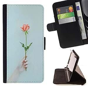 Devil Case- Estilo PU billetera de cuero del soporte del tir¨®n [solapa de cierre] Cubierta FOR Samsung Galaxy S6 Edge G9250 G925F- Flower Rose