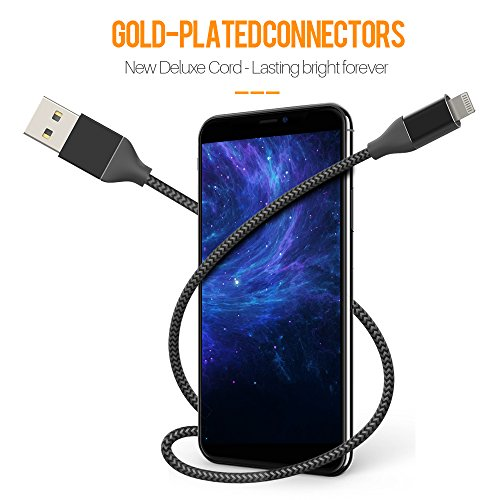 iPhone Charger,Lansen Lightning Cable 5Pack Nylon Braided iPhone Cable for iPhone X/8/8 Plus/7/7 Plus/6s/6s Plus/6/6Plus/5s iPad/-(Black Silver) by Lansen (Image #2)