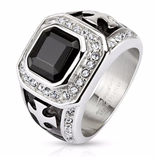 Onyx Stone with Micro Paved Clear CZs Border and Celtic Cross on Sides Square Cast Ring Stainless Steel