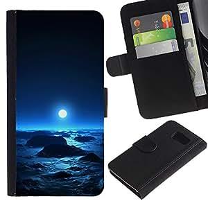 Samsung Galaxy S6 / SM-G920 , la tarjeta de Crédito Slots PU Funda de cuero Monedero caso cubierta de piel ( Moon Blue Bright Planet Alien Cosmos Space)