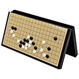 Magnetic Go Game Set with Go Board (14.7 Inches x 14.6 Inches) and Single Convex Plastic Stones