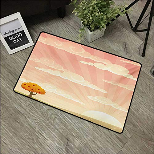 (Meadow,American Floor mats Lonely Tree Floral Rural Field Clouds and Sun Reflections Idyllic Cartoon W 24