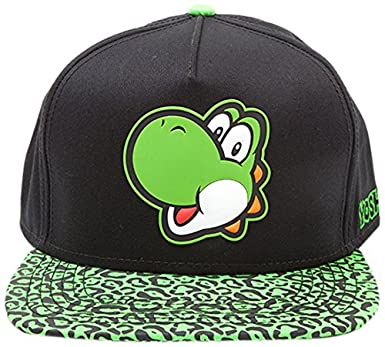 418dbc5dc0d4 Image Unavailable. Image not available for. Colour: Meroncourt Nintendo  Super Mario Bros. Yoshi Face Rubber Patch Snapback Baseball Cap ...