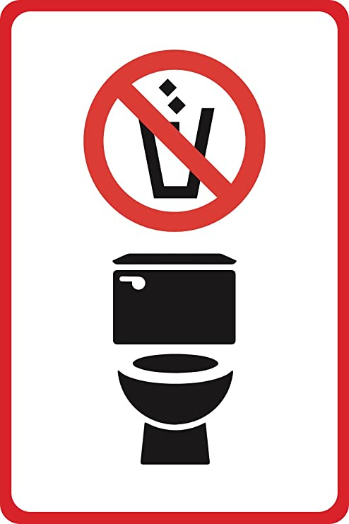 Amazon Aluminum Metal No Trash In Toilets Symbol Pictures