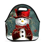 SeLub Frosty Snowman Christmas Lunch Bag Portable Bento Pouch Lunchbox Baby Bag Multi-purpose Satchel Tote for Student Worker Travel Mummy