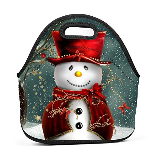 SeLub Frosty Snowman Christmas Lunch Bag Portable Bento Pouch Lunchbox Baby Bag Multi-purpose Satchel Tote for Student Worker Travel Mummy by SeLub