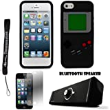 Black Game Boy Durable Silicone Protective Skin Case For Apple iPhone 5 iOS (6) Smart Phone + Supert