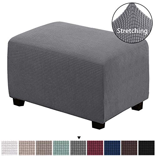 H.VERSAILTEX Ottoman Slipcovers Rectangle Gray Footrest Sofa Slipcovers Footstool Protector Covers Stretch Fabric Storage Ottoman Covers, High Spandex Lycra Slipcover Machine Washable, Large Size (Standard Length Loveseat)