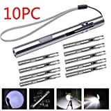 10 pcs 8000 Lumens Pocket Tactical Flashlight - USB Rechargeable, Stainless Steel Flashlight by Coerni