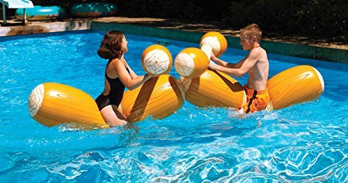 Water Sports Inflatable Swimming Pool Log Flume Joust with Boppers Game Set by Swim (Joust Set)