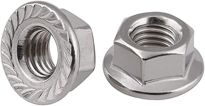 MroMax M8 Serrated Flange Hex Lock Nuts 316 Stainless Steel Silver Tone 5pcs