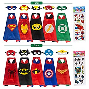 Babylian Superhero Dress Up Costume,5 Set of Double-Sided Satin Capes with Felt Masks for Kids, One Set Plays Double Roles. (5 Pack)