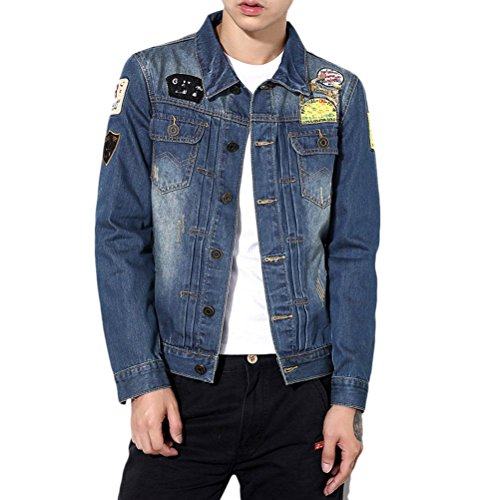 Zhhlaixing Cómodo Mens Spring Summer Classic Denim Coat Jacket Turn Down Collar Size XL-5XL Dark Blue