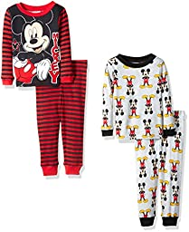 Disney Little Boys\' Toddler Mickey Mouse 4-Piece Pajama Set, Cool Grey, 2T
