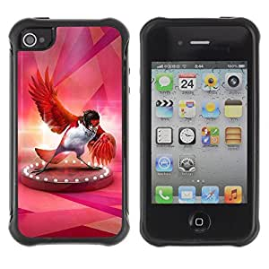 Hybrid Anti-Shock Defend Case for Apple iPhone 4 4S / Fabulous Red Bird