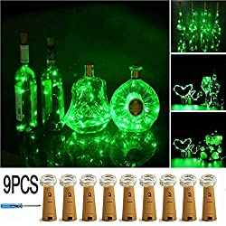 LXS Bottle Lights Battery Powered,10 LED Silvery Copper Wire Wine Lights,Mini Cork Lights String for DIY Christmas Party Wedding Centerpiece or Table Decoration,9 Pack(Green)