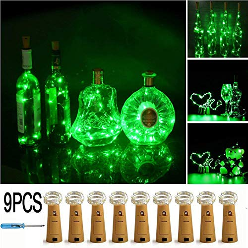 (LXS Bottle Lights Battery Powered,10 LED Silvery Copper Wire Wine Lights,Mini Cork Lights String for DIY Christmas Party Wedding Centerpiece or Table Decoration,9 Pack(Green))