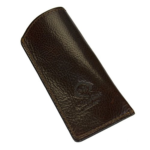 Natural Genuine Leather Handcrafted Soft Slip-In Eyeglass Case from Italy, Brown - Sunglasses Cheap Nyc