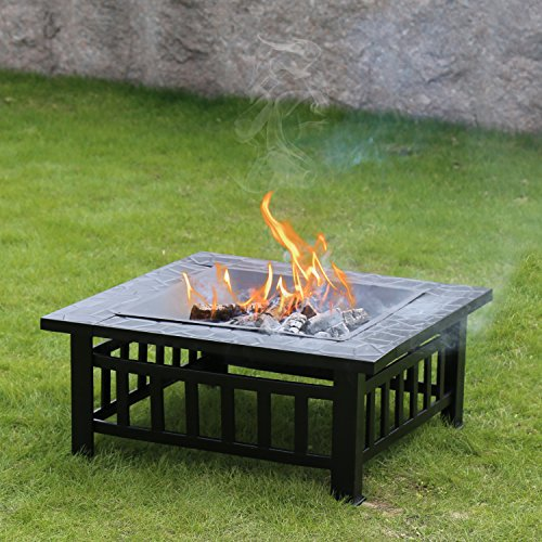 Kinbor 32-Inch Outdoor Heavy Duty Steel Fire Pit Wood Burning Fireplace Patio Backyard Heater Steel Fire Pit Square w/Waterproof PVC Cover and Cooking Grill