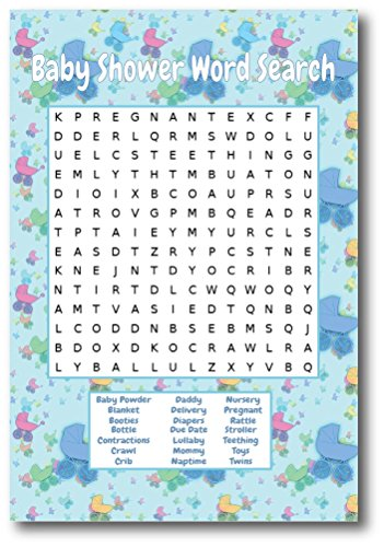 Baby Shower Games For Boys | By L&P Designs | Blue Baby Boy Party Ideas (Word Search)