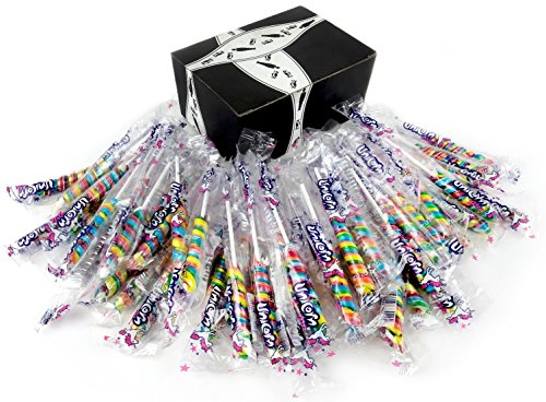 Mini Rainbow Unicorn Pops, 0.42 oz Packages in a Black Tie Box (Pack of 50) -