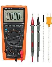 Proster Multímetro Digital 3999 LCD Automático Rango Medidor de Capacitancia con Resistencia DC / AC Voltaje de Corriente del Transistor del Diodo de Continuidad (Incluye Contacto sonda Temperatura )