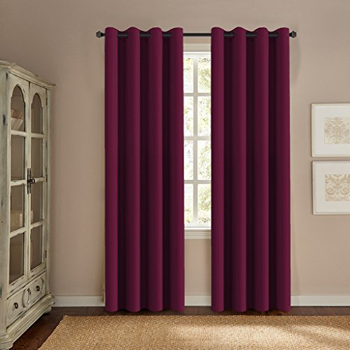 H.Versailtex Window Treatment Thermal Insulated Solid Grommet Energy Saving Curtains / Drapes for Bedroom (52 by 96 Inch Long ,Burgundy Red)