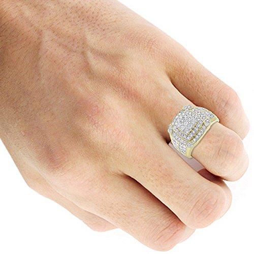 Mens Pinky Rings 10K Rose, White, Yellow Gold 2.5 Carat Diamond Band 2.5ctw (Yellow, Size 10) by Luxurman (Image #3)