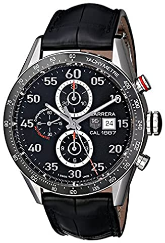 TAG Heuer Men's CAR2A10.FC6235 Carrera Stainless Steel Automatic Watch with Black Leather Band (Bezel Tag Heuer)