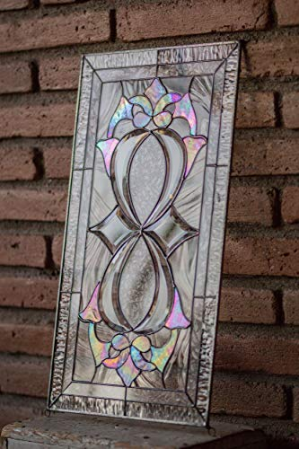 Mexicolour Infinity Knot - Tiffany Style Stained Glass Window Panel Custom Cut Beveled Pieces & Iridiscent ()