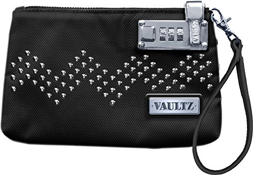 Vaultz 5.5 x 8 Inches Locking Wristlet, Black with Studs (VZ00761)