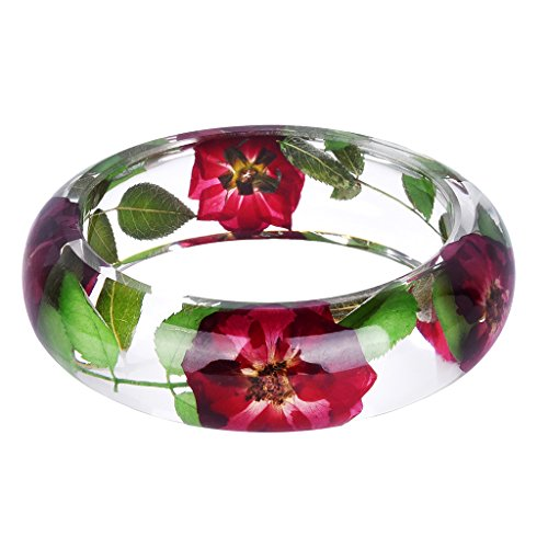Baosity Vintage Clear Real Dried Flowers Bracelet Bangle Women Lady Fashion Jewelry Gift - Multi-color 3 (Vintage Bracelets Plastic)