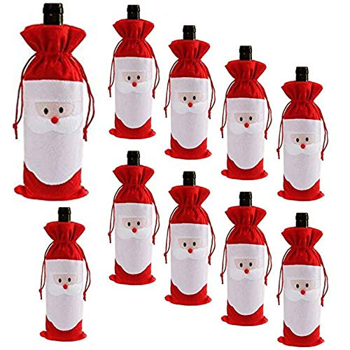 Santa Claus Wine Bottle - D-Fokes 10PC Christmas Santa Claus Wine Bottle Cover Bags Home Party Decoration