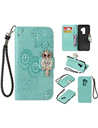 Cfrau Diamond Kickstand Case with Black Stylus for Samsung Galaxy S9 Plus,Luxury Embossed Crystal 3D Owl Flower Bling Glitter Wallet PU Leather Shockproof Soft TPU Wrist String Case - Mint Green