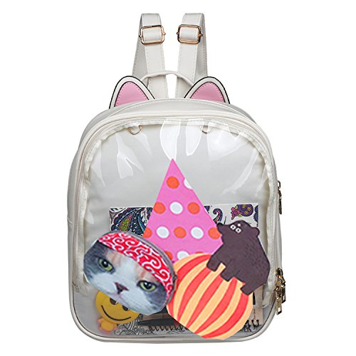 Smilecoco Candy Leather Cat Backpack Plastic Transparent Beach Girls School Bag (White) -