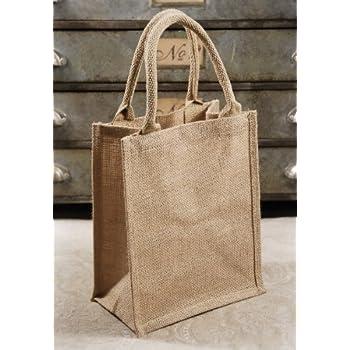 Amazon Com Burlap Tote Bag Bulk Pack Of 6 Gusset With